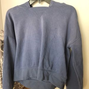 pacsun basic washed out indigo crop hoodie